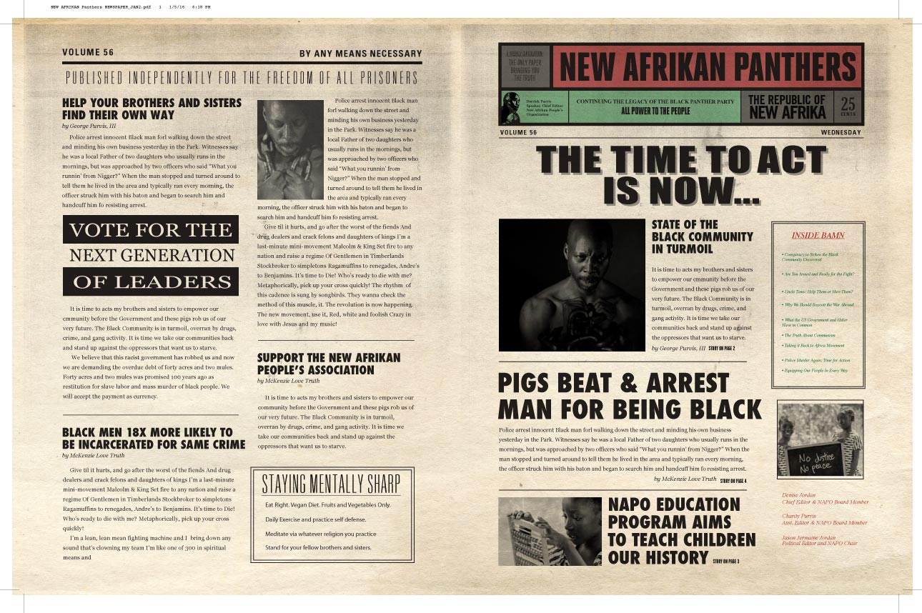 A Period Newspaper for New Afrikan Panthers