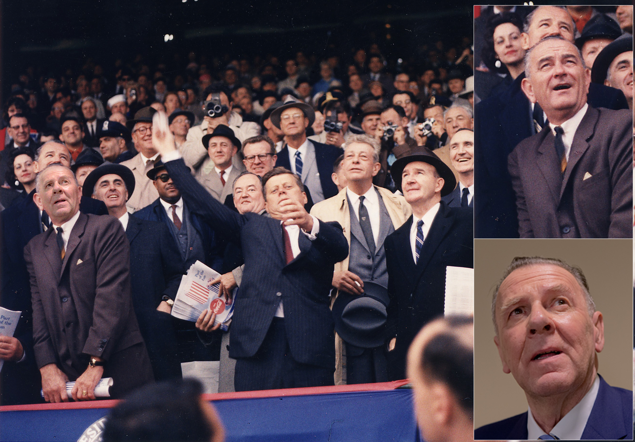 Retouching_aaaOpening_Day_of_1961_Baseball_Season._President_Kennedy_throws_out_first_ball._first_row_Vice_President_Johnson..._-_NARA_-_194197_JJ